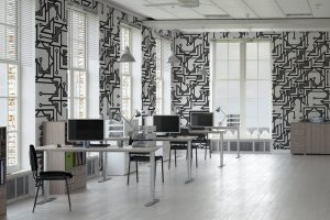 مدلکاغذ دیواری طرح گرافیکیبرای دفتر کار
